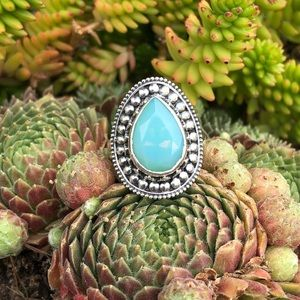 Blue Fire Opalite Faceted Sterling Silver Ring 8